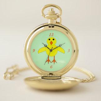 Reloj de bolsillo lindo del polluelo de Pascua