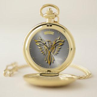 Reloj De Bolsillo Llamas de oro de levantamiento de Phoenix Gold con