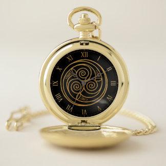 Reloj De Bolsillo Mandala céltica triple del remolino del nudo