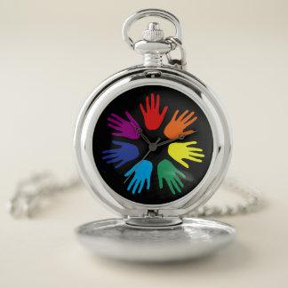 Reloj De Bolsillo Manos del arco iris