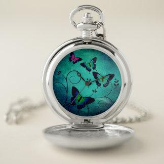 Reloj De Bolsillo Mariposas adornadas del Aquamarine y de la joya