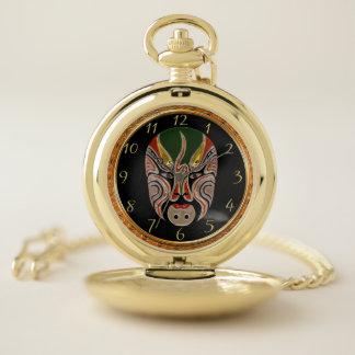 Reloj De Bolsillo Máscaras faciales de la ópera de Pekín en verde y