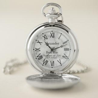 Reloj De Bolsillo Mejor banquete de boda con monograma de mármol