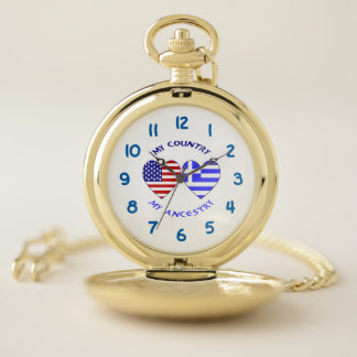 Reloj De Bolsillo Mi país mi Griego de la ascendencia y banderas del