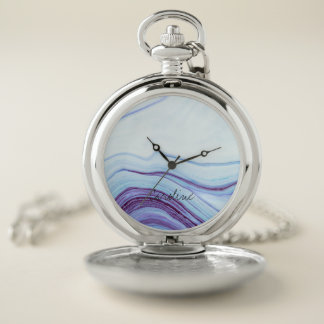 Reloj De Bolsillo Modelo de mármol azul y violeta. Añada el nombre