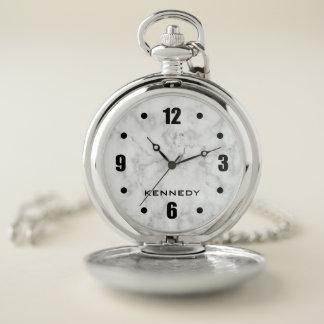 Reloj De Bolsillo Modelo de mármol blanco con clase personalizado