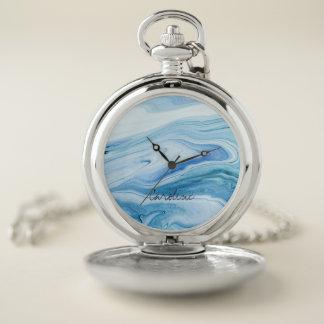 Reloj De Bolsillo Modelo de mármol de la aguamarina azul y blanca.