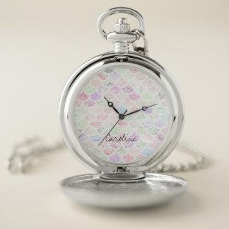 Reloj De Bolsillo Modelo de mármol de la concha de peregrino de la
