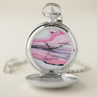 Reloj De Bolsillo Modelo de mármol rosado y negro. Añada el nombre