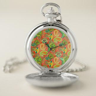 Reloj De Bolsillo Modelo inconsútil colorido lindo de Paisley
