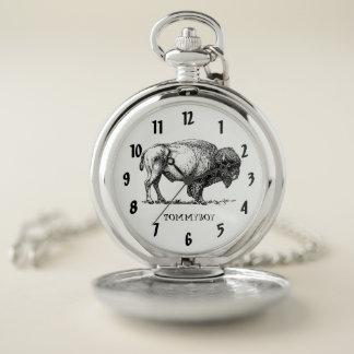 Reloj De Bolsillo Monograma americano del bisonte del búfalo
