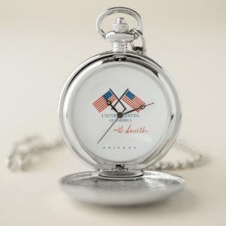Reloj De Bolsillo Monograma. Bandera americana de los E.E.U.U.