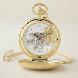 Reloj De Bolsillo Monograma. Canales de la acuarela de Venecia