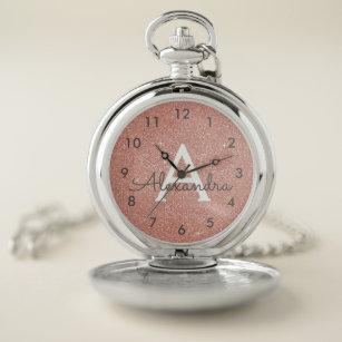 Reloj De Bolsillo Monograma color de rosa rosado del purpurina y de