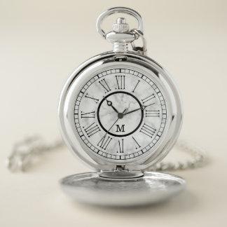 Reloj De Bolsillo Monograma de mármol blanco simple