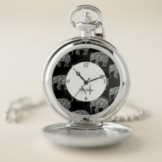 Reloj De Bolsillo Monograma de plata colorido brillante del elefante