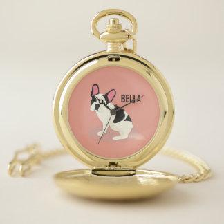 Reloj De Bolsillo Monograma. Dogo francés lindo