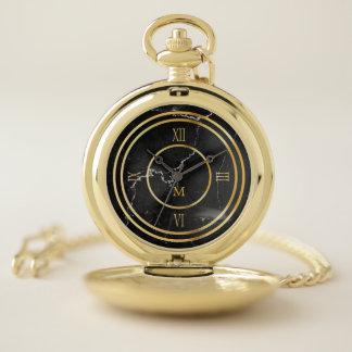 Reloj De Bolsillo Monograma. Números romanos del oro. Mármol negro