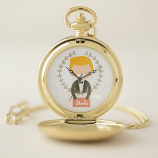 Reloj De Bolsillo Monograma. Regalo de boda para el novio