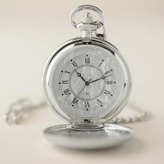 Reloj De Bolsillo Monograma. Vintage. Números romanos. Mármol blanco