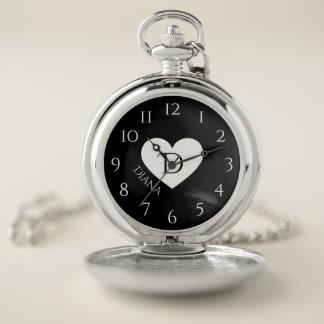 Reloj De Bolsillo Monograma y nombre del corazón
