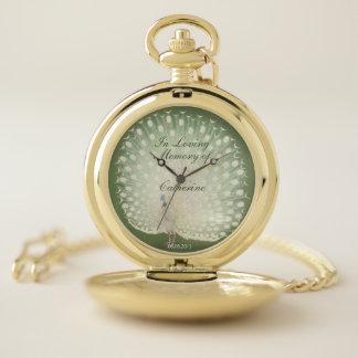 Reloj De Bolsillo Monumento blanco japonés del pavo real de la bella