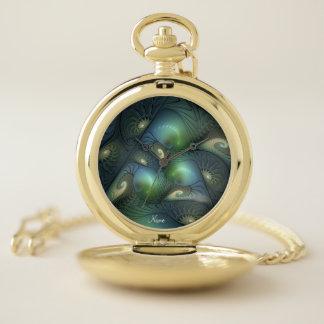 Reloj De Bolsillo Nombre verde beige del fractal de la turquesa de
