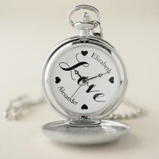 Reloj De Bolsillo Nombres y corazones elegantes de los amantes