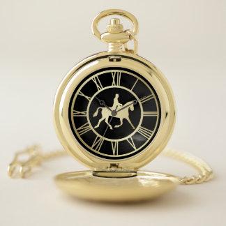 Reloj De Bolsillo Número romano ecuestre del vintage elegante del