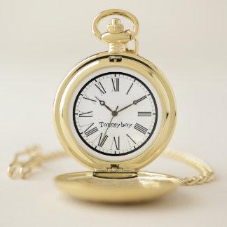 Reloj De Bolsillo Número romano negro personalizado elegante
