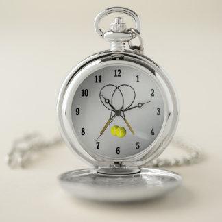 Reloj De Bolsillo Números del negro de la plata del tema del deporte