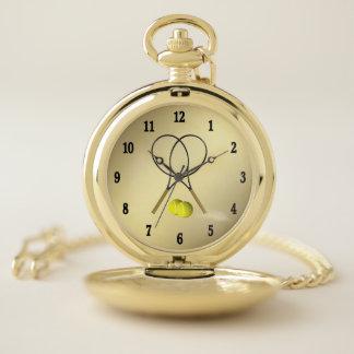 Reloj De Bolsillo Números del negro del oro del tema del deporte del