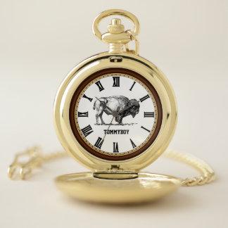 Reloj De Bolsillo Oro americano del monograma del bisonte del búfalo