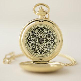 Reloj De Bolsillo Oro y mandala céltica del nudo del negro