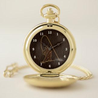 Reloj De Bolsillo Oscuridad del pescador de la Cuero-Mirada