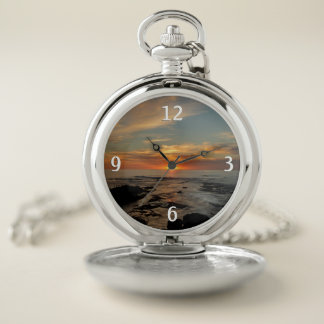 Reloj De Bolsillo Paisaje marino de la puesta del sol II California