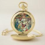 Reloj De Bolsillo Patos mallard de vidrio manchado en el estanque