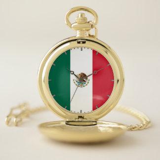 Reloj de bolsillo patriótico con de México