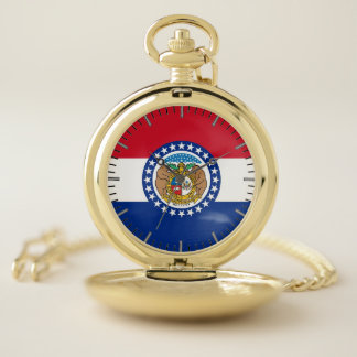 Reloj de bolsillo patriótico con la bandera de