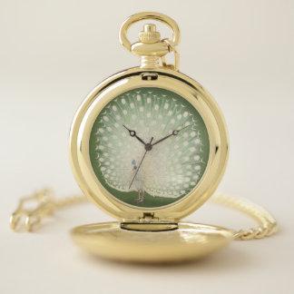 Reloj De Bolsillo Pavo real blanco japonés de la bella arte el | del