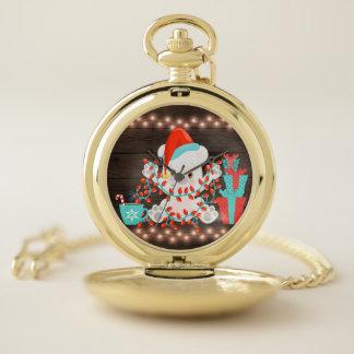 Reloj De Bolsillo Pequeño oso polar lindo con las luces de navidad