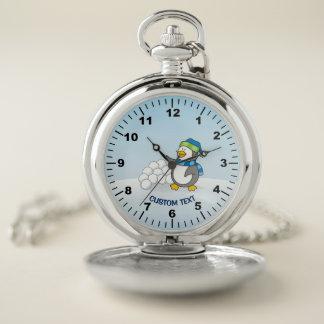 Reloj De Bolsillo Pequeño pingüino con agitar de las bolas de la