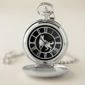 Reloj De Bolsillo Perro de pastor alemán de plata