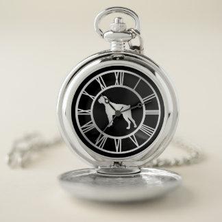 Reloj De Bolsillo Perro de plata del boxeador