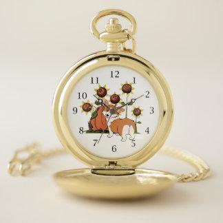 Reloj De Bolsillo Perro del Corgi Galés con los girasoles