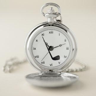 Reloj De Bolsillo Personalizado blanco y negro del club de golf y de