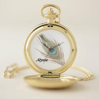 Reloj De Bolsillo Personalizado elija la pluma del pavo real del