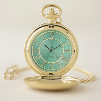 Reloj de bolsillo personalizado verde salvia