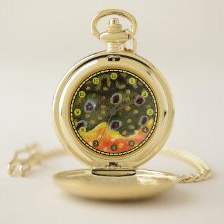 Reloj De Bolsillo Pesca con mosca hermosa de la trucha de arroyo