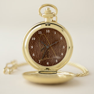 Reloj De Bolsillo Pescador de la Cuero-Mirada